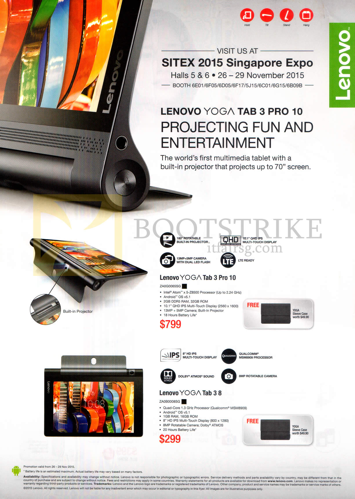 SITEX 2015 price list image brochure of Lenovo Tablets Yoga Tab 3 Pro 10, Tab 3 8