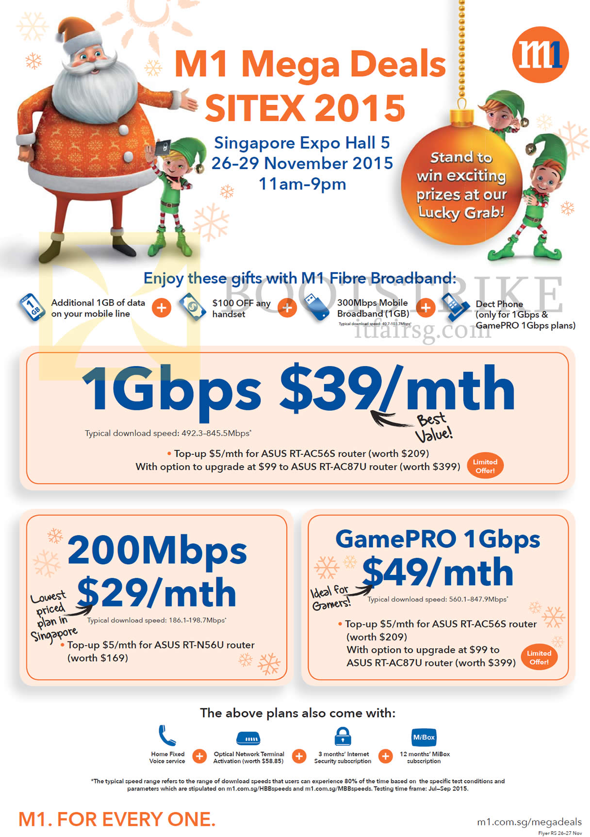 SITEX 2015 price list image brochure of M1 Broadband Fibre 1Gbps 39.00, 200Mbps 29.00, GamePro 1Gbps 49.00