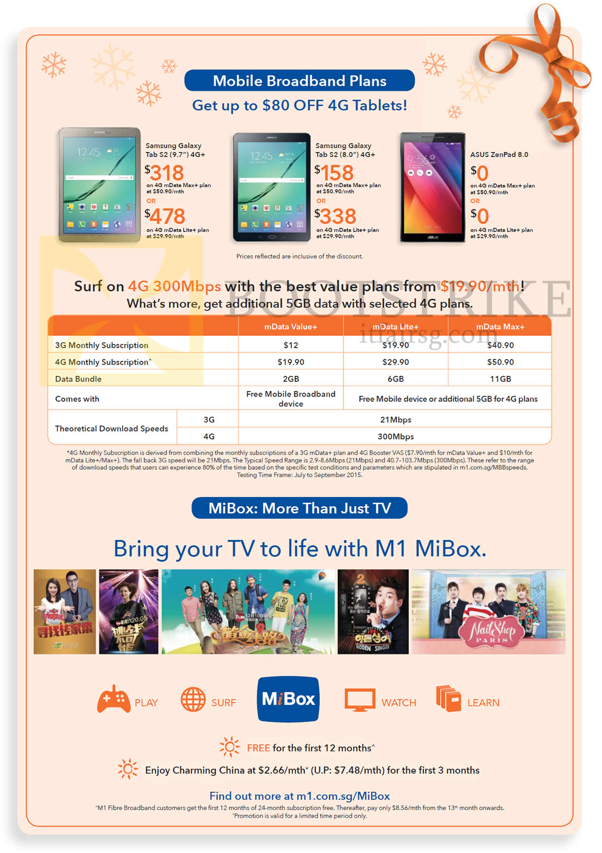 SITEX 2015 price list image brochure of M1 Mobile Samsung Galaxy Tab S2, ASUS ZenPad, MData Plans