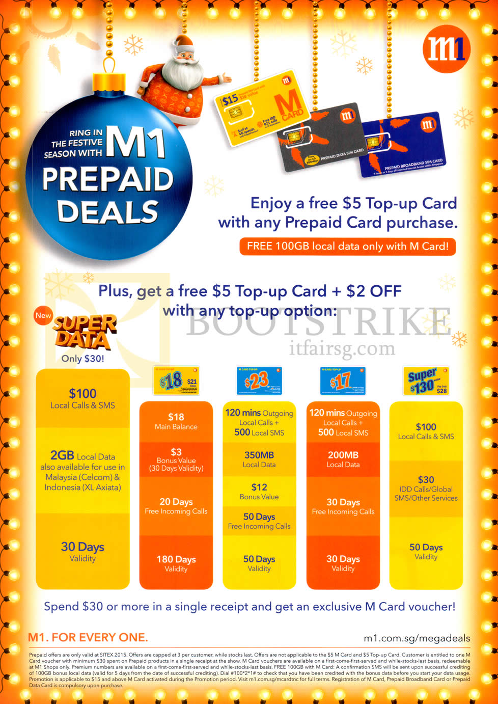 SITEX 2015 price list image brochure of M1 Prepaid Free 5 Dollar Top Up Card With Prepaid Card Purchase