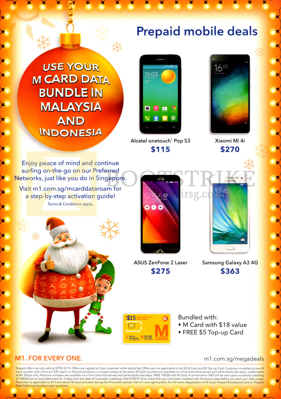 SITEX 2015 price list image brochure of M1 Prepaid Mobile Deals Alcatel Onetouch Pop S3, Xiaomi Mi 4i, Asus Zenfone 2 Laser, Samsung Galaxy A3