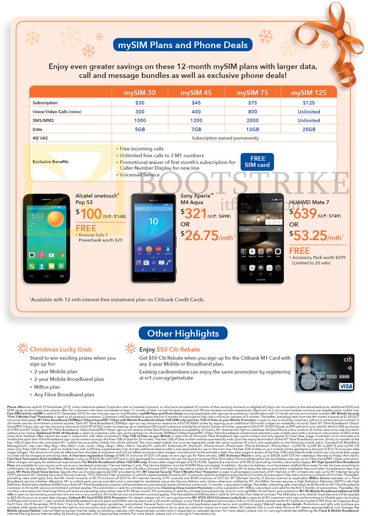 SITEX 2015 price list image brochure of M1 MySIM Plans, Alcatel Onetouch, Sony Xperia M4 Aqua, Huawei Mate 7, Christmas Lucky Grab, Citi Rebate
