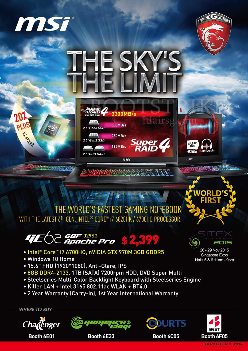 SITEX 2015 price list image brochure of MSI Notebooks GE626QF029SG Apache Pro