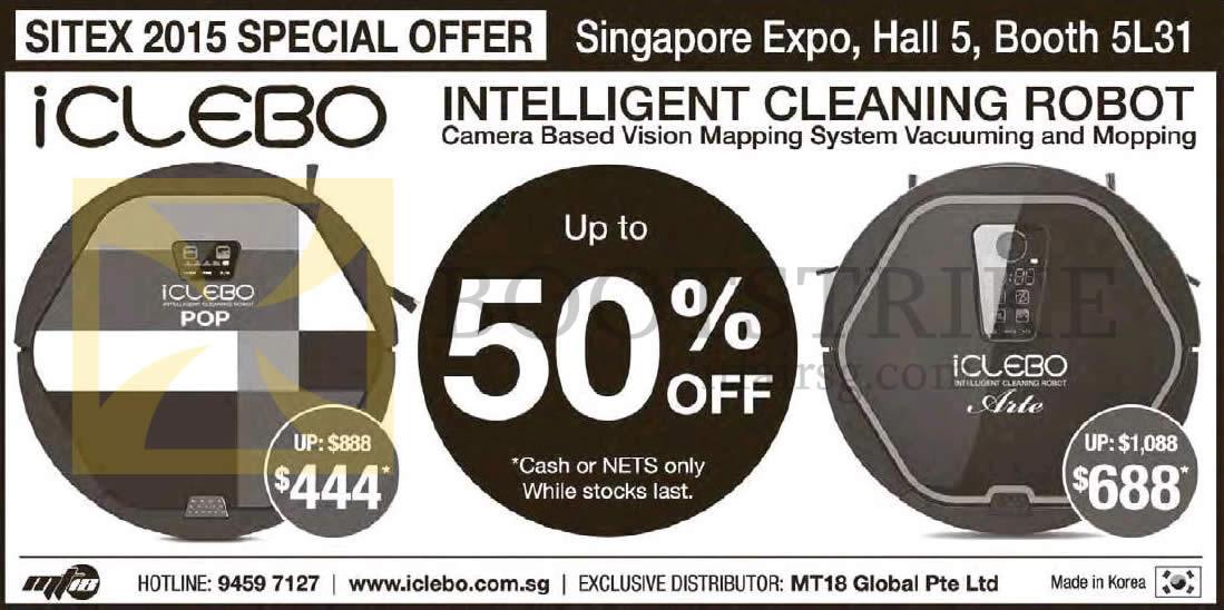 SITEX 2015 price list image brochure of MT18 Icleobo Cleaning Robot Pop, Arte