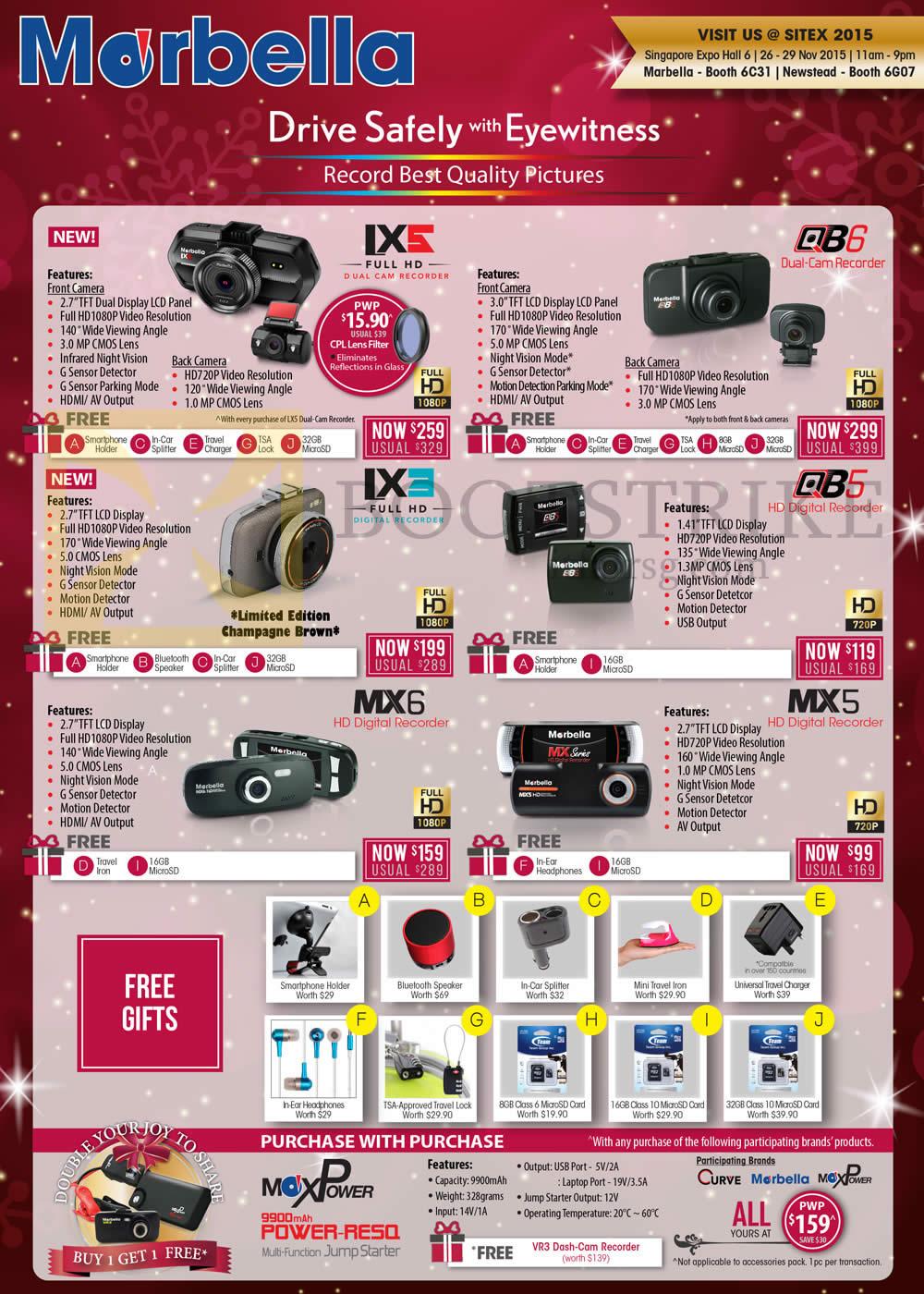 SITEX 2015 price list image brochure of Maka GPS Marbella Maxpower Car Cameras LX5, QB6, LX3, QB5, MX6, MX5