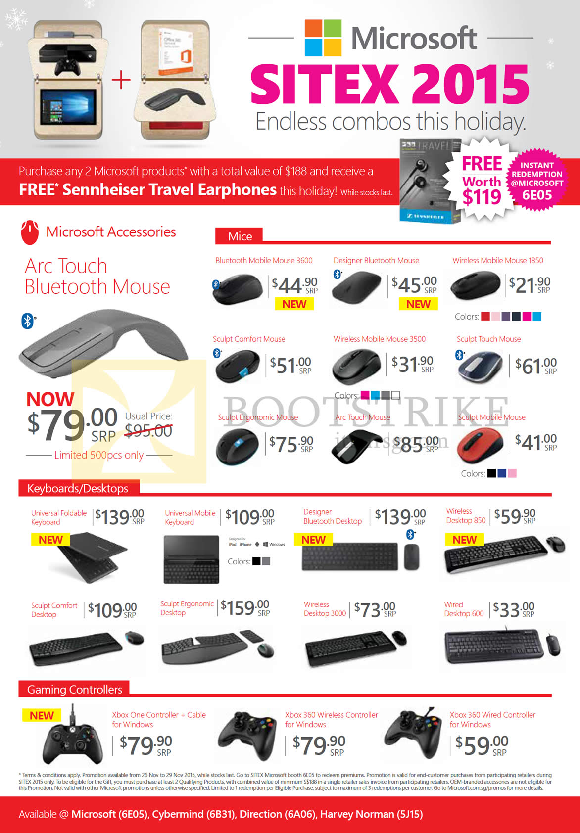 SITEX 2015 price list image brochure of Microsoft Hardware Accessories Mouse, Keyboards, Desktops, Gaming Controllers, Arc Touch, Bluetooth, Wireless Mobile, Sculpt Comfort, Ergonomic, Foldable, Designer, Xbox One 360