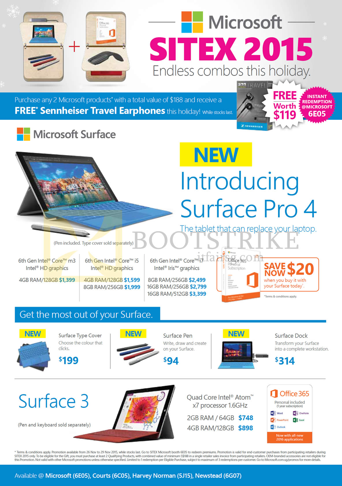 SITEX 2015 price list image brochure of Microsoft Tablets Surface Pro 4, Surface 3