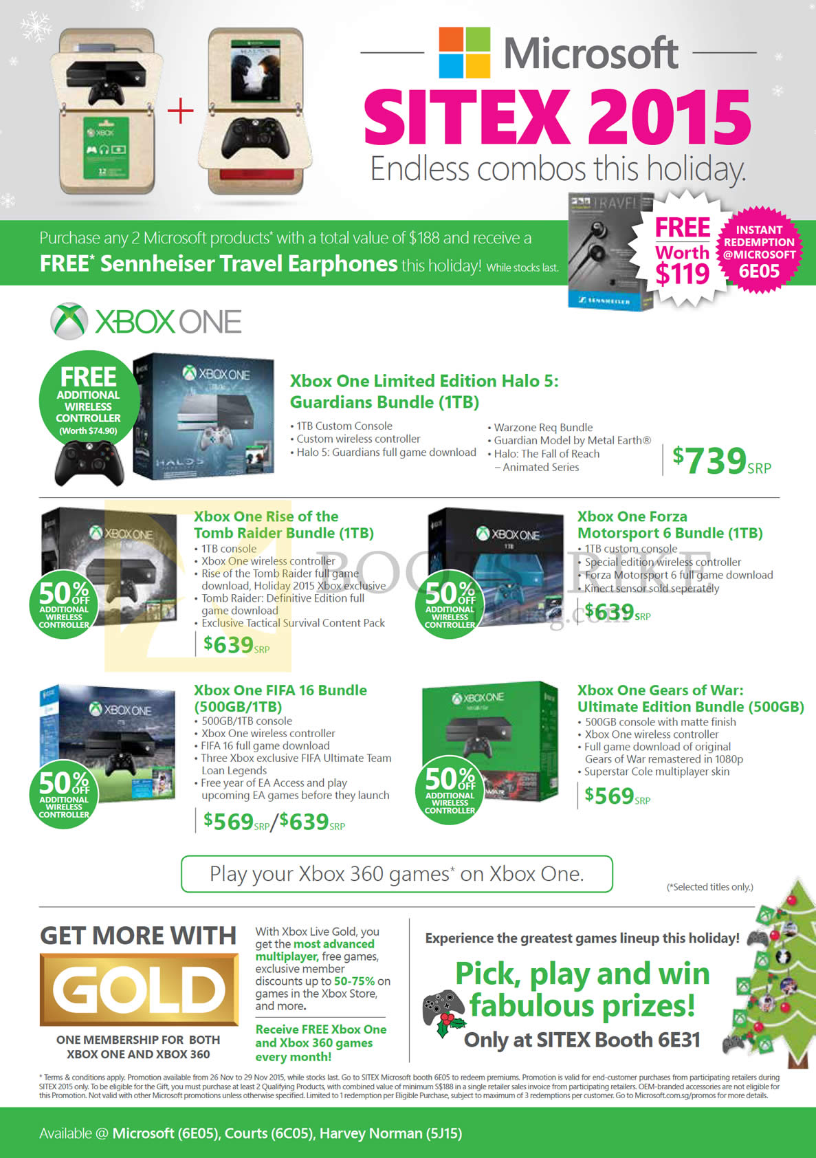 SITEX 2015 price list image brochure of Microsoft Xbox One Gaming Consoles, Halo 5 Bundle, Rise Of The Tomb Raider, Forza Motorspot 6, Fifa 16, Gears Of War Ultimate Edition