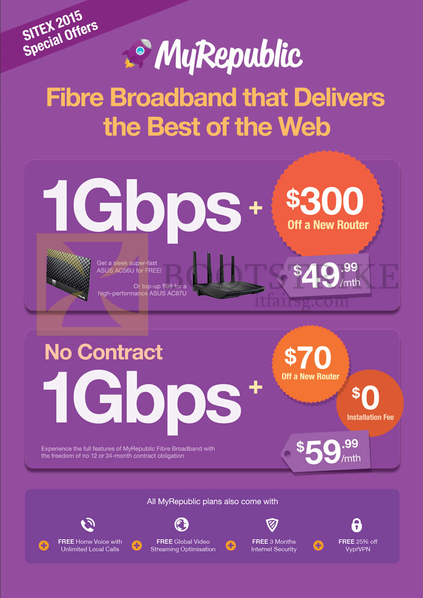 SITEX 2015 price list image brochure of MyRepublic 1Gbps Fibre Broadband Contract, No Contact Prices