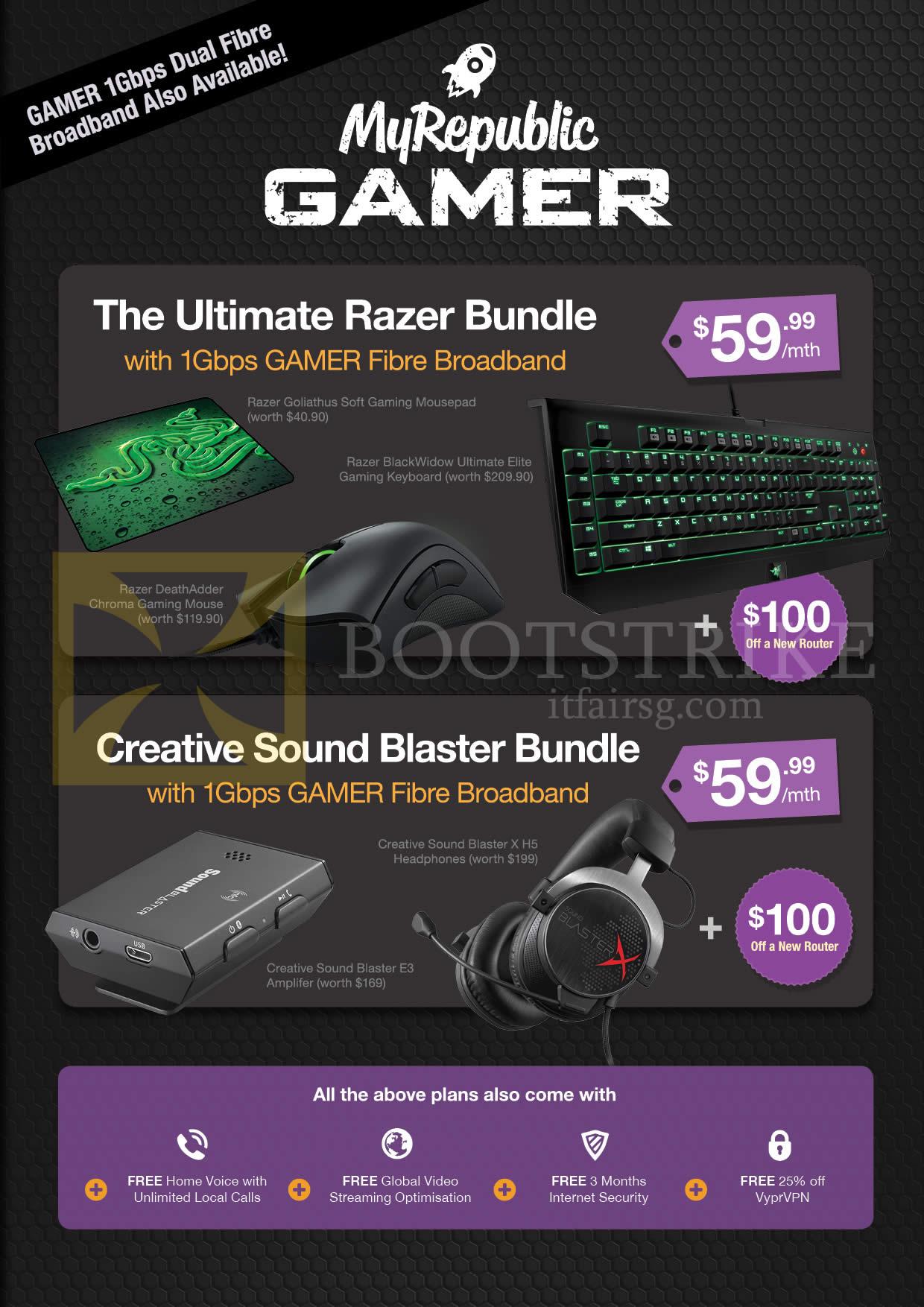 SITEX 2015 price list image brochure of MyRepublic Gamer Ultimate Razer Bundle, Creative Sound Blaster Bundle