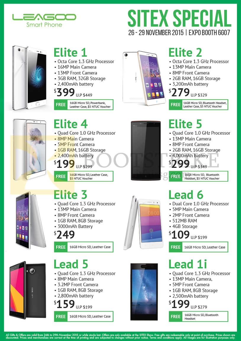 SITEX 2015 price list image brochure of Newstead Leagoo Smartphones Elite 1, 2, 4, 5, 3, Lead 6, 5, 1i