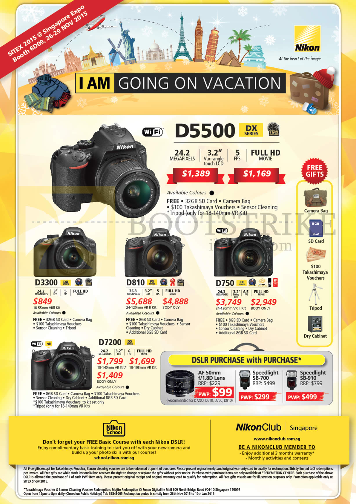 SITEX 2015 price list image brochure of Nikon DSLR Digital Cameras, Lenses D5500, D3300, D810, D750, D7200