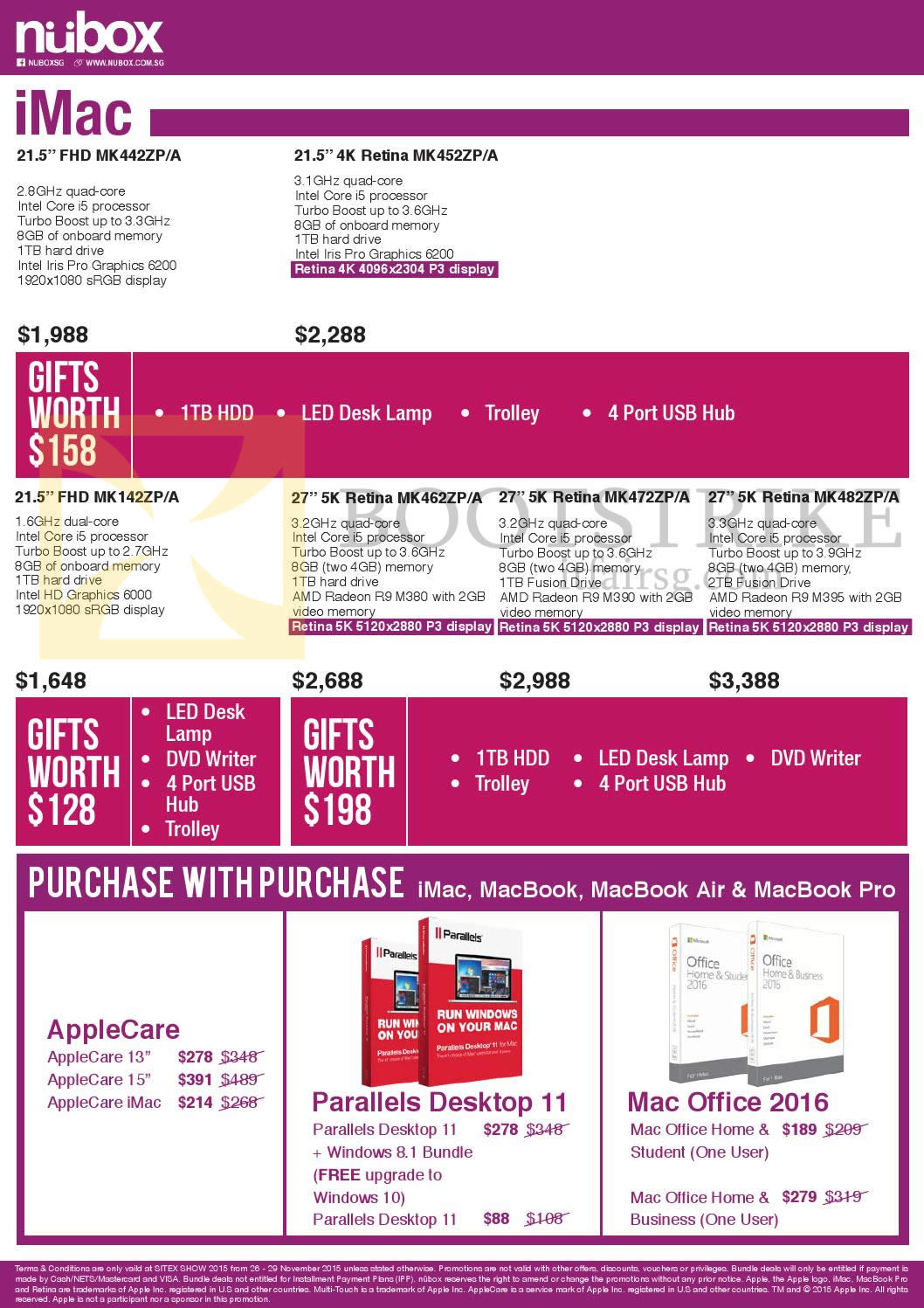 SITEX 2015 price list image brochure of Nubox Apple IMac, Purchase With Purchase Applecare, Parallels Desktop 11, Mac Office 2016