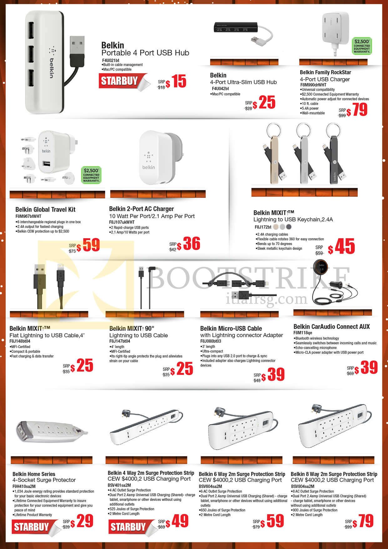 SITEX 2015 price list image brochure of Nubox Belkin USB Hub, RockStar USB Charger, AC Charger, Mixit Lightning To USB Cable, CarAudio Connect AUX, Surge Protection Strip, Home Series Surge Protector