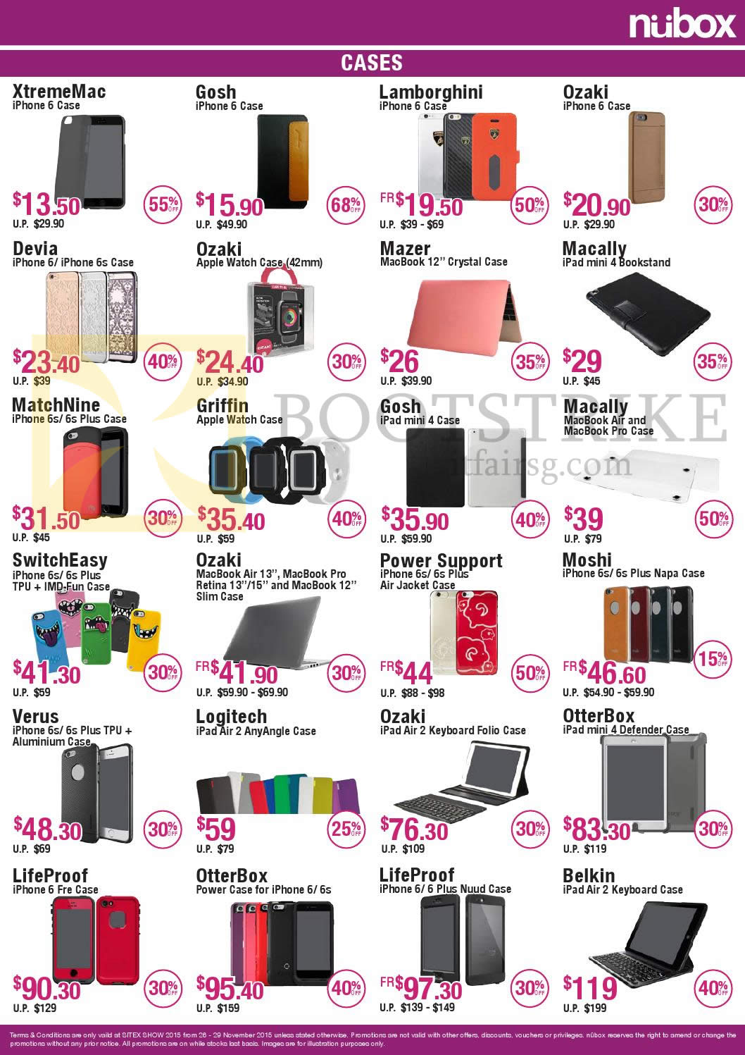 SITEX 2015 price list image brochure of Nubox Cases XtremeMac, Gosh, Lamborghini, Ozaki, Devia, Mazer, Gosh, SwitchEasy, Logitech, Verus, OtterBox, LifeProof, Belkin