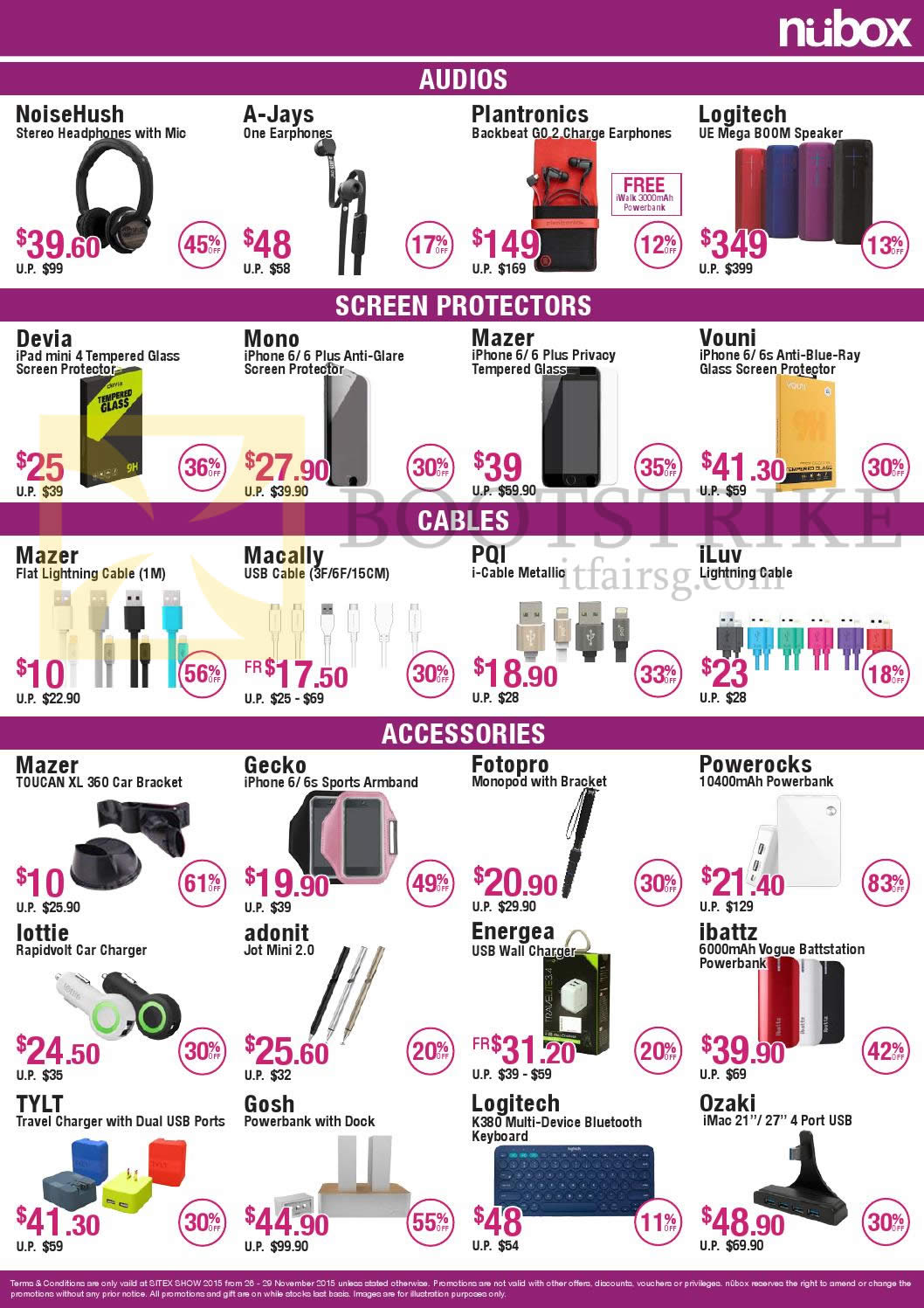 SITEX 2015 price list image brochure of Nubox Earphones, Headphones, Cables, Accessories, NoiseHush, A-Jays, Plantronics, Logitech, Devia, Mono, PQI, ILuv, Fotopro, Powerocks