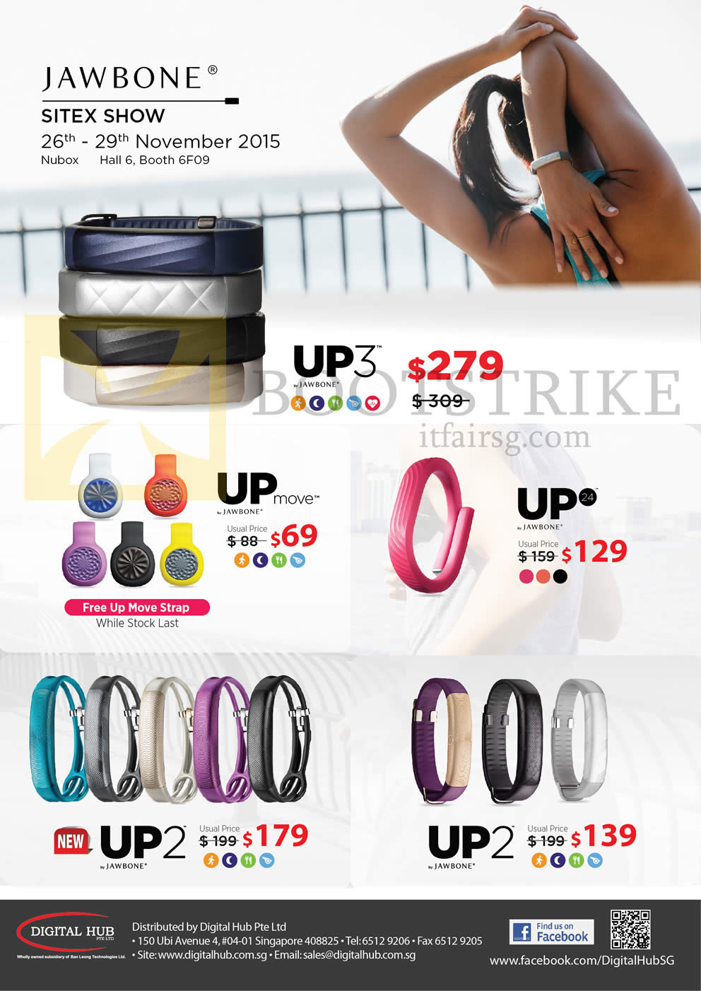 SITEX 2015 price list image brochure of Nubox Jawbone Fitness Trackers UP24, UP2, UP3, UP Move