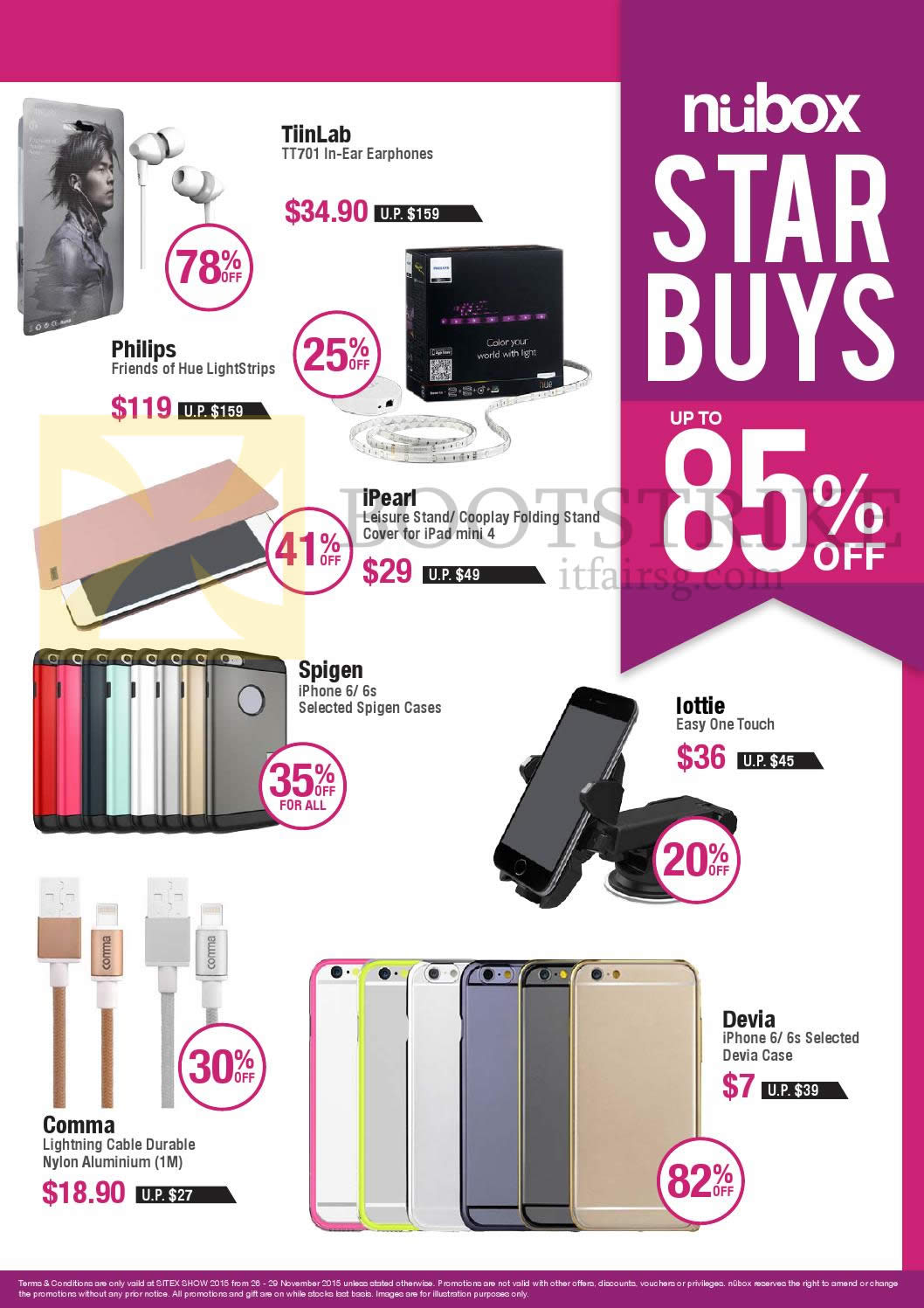 SITEX 2015 price list image brochure of Nubox Star Buys Up To 85 Percent Off Earphones, Cases, Lightning Cable, Easy ONe Touch, TiinLab, Philips, IPearl, Spigen, Lottle, Devia, Comma