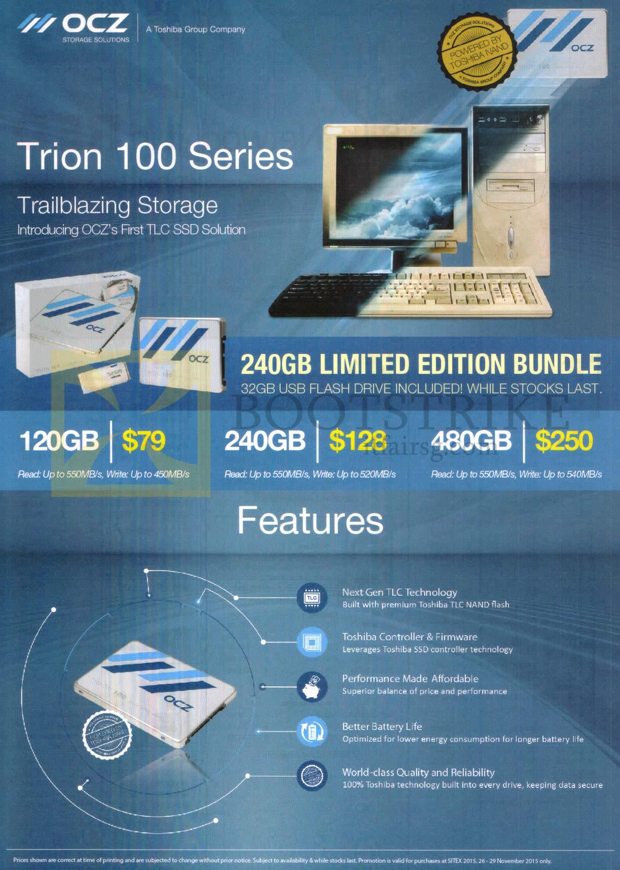SITEX 2015 price list image brochure of OCZ Storage Solutions Trion 100 Series SSD 120GB, 240GB, 480GB