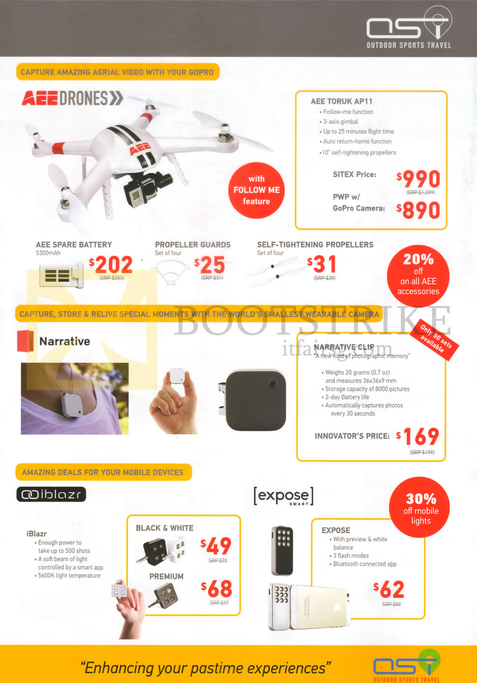 SITEX 2015 price list image brochure of OST Drones, Cameras AEE Toruk AP11, Narrative Clip, Black N White, Premium, Expose