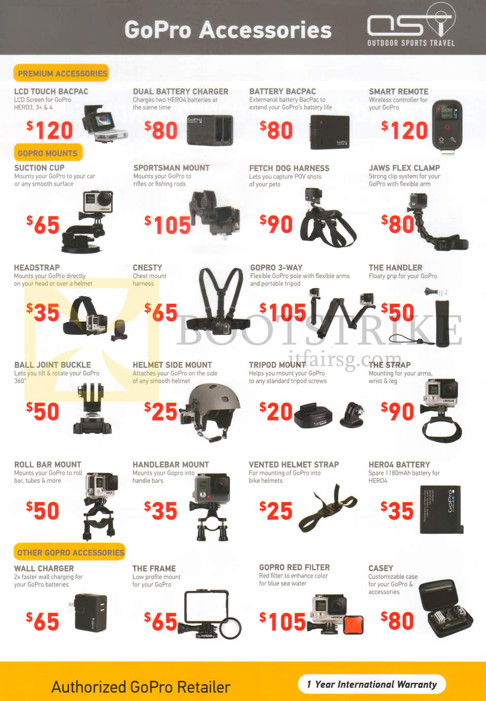 SITEX 2015 price list image brochure of OST GoPro Accessories GoPro Mounts, Premium, Other Gopro Accessories, Bacpac, Remote, Buckle, Frame, Helmet Strap, Battery, Strap, Casey, Filter