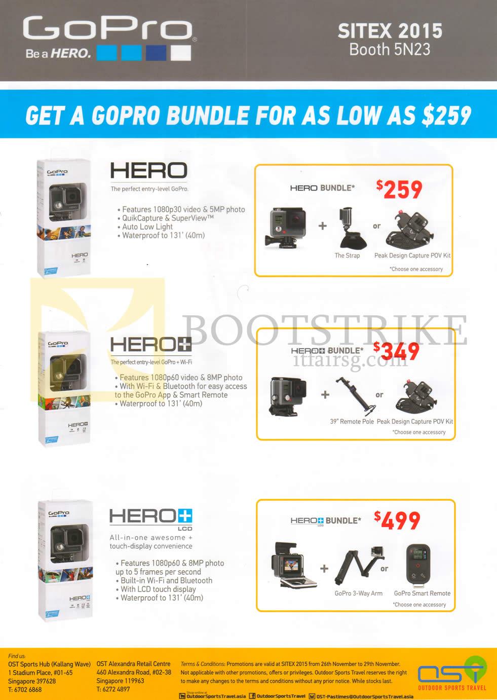 SITEX 2015 price list image brochure of OST GoPro Action Cameras Bundles Hero, Hero Plus, Hero Plus LCD