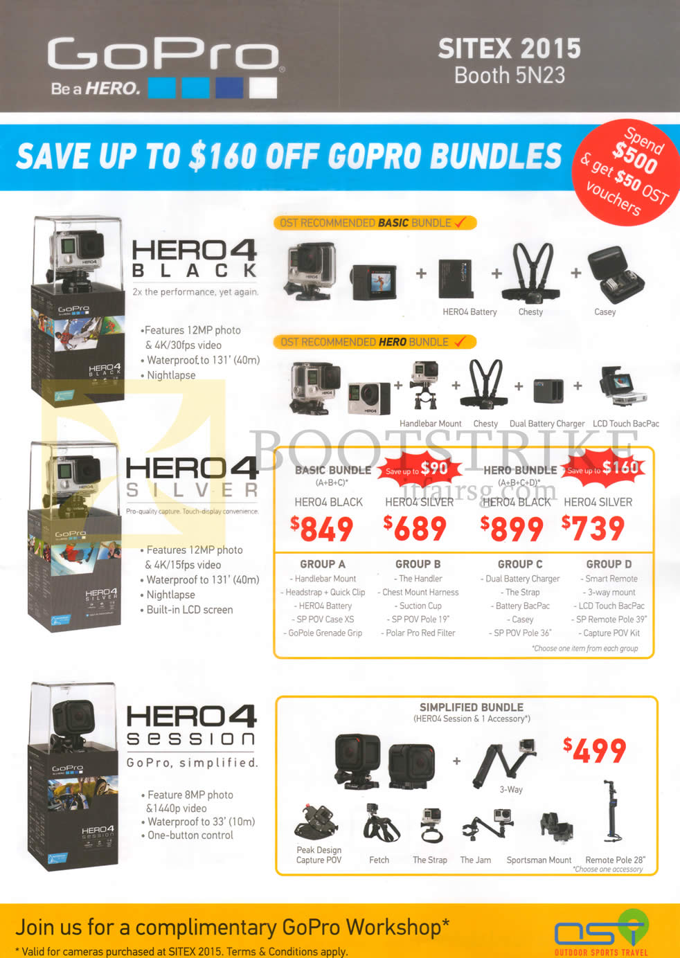 SITEX 2015 Price List Image Brochure Of OST GoPro Action Cams Bundles Hero4 Black
