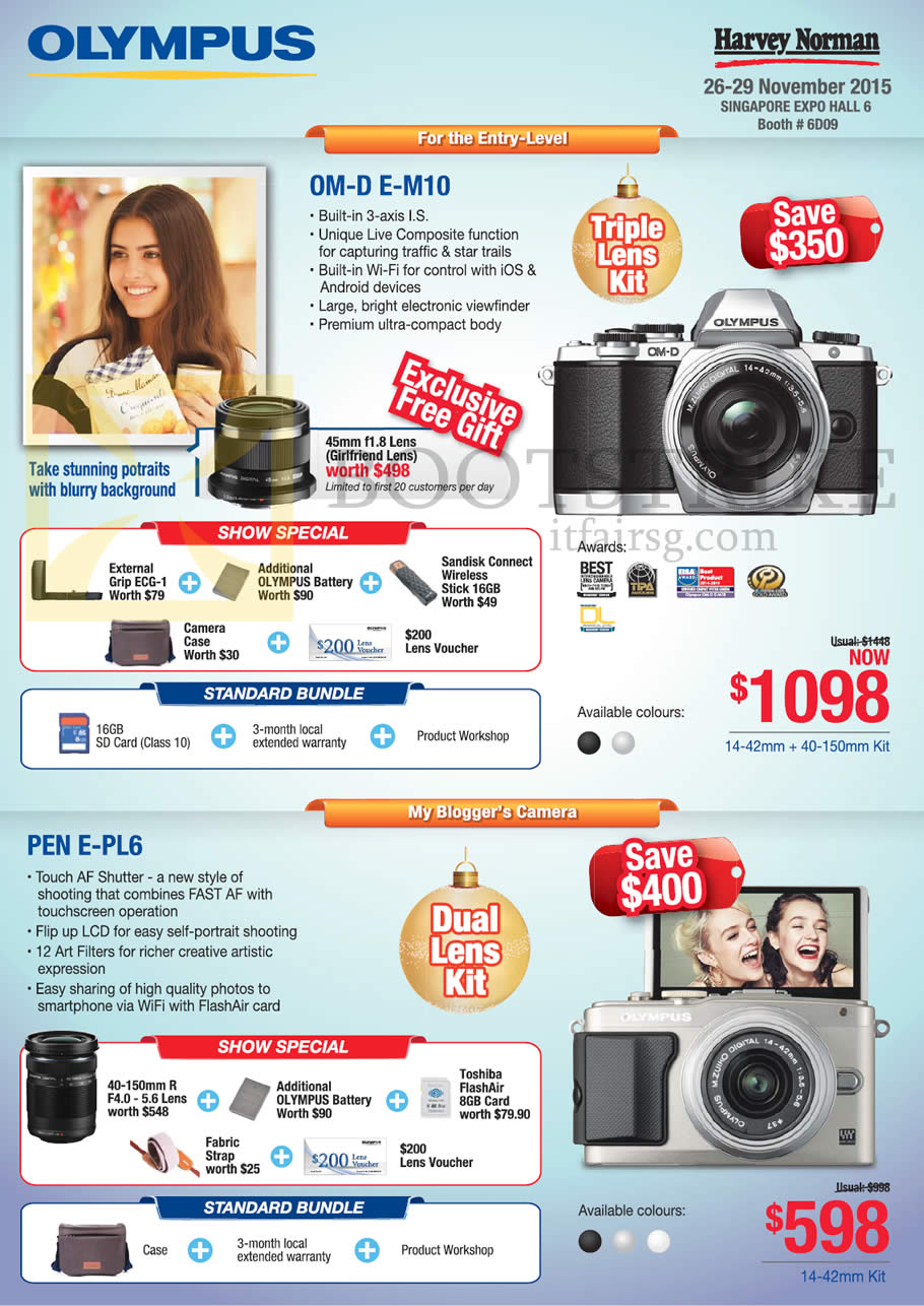 SITEX 2015 price list image brochure of Olympus Digital Cameras OM-D E-M10, Pen E-PL6