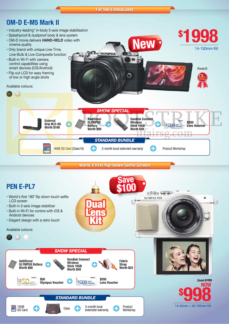 SITEX 2015 price list image brochure of Olympus Om-D E-M5 Mark II, Pen E-PL7