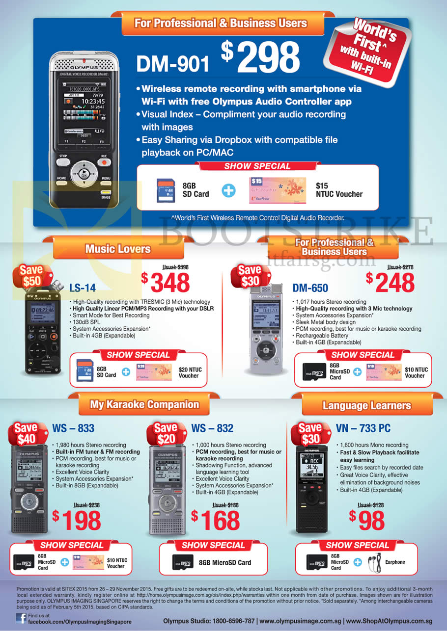 SITEX 2015 price list image brochure of Olympus Voice Recorders DM-901, LS-14, DM-650, WS-833, WS-832, VN-733PC