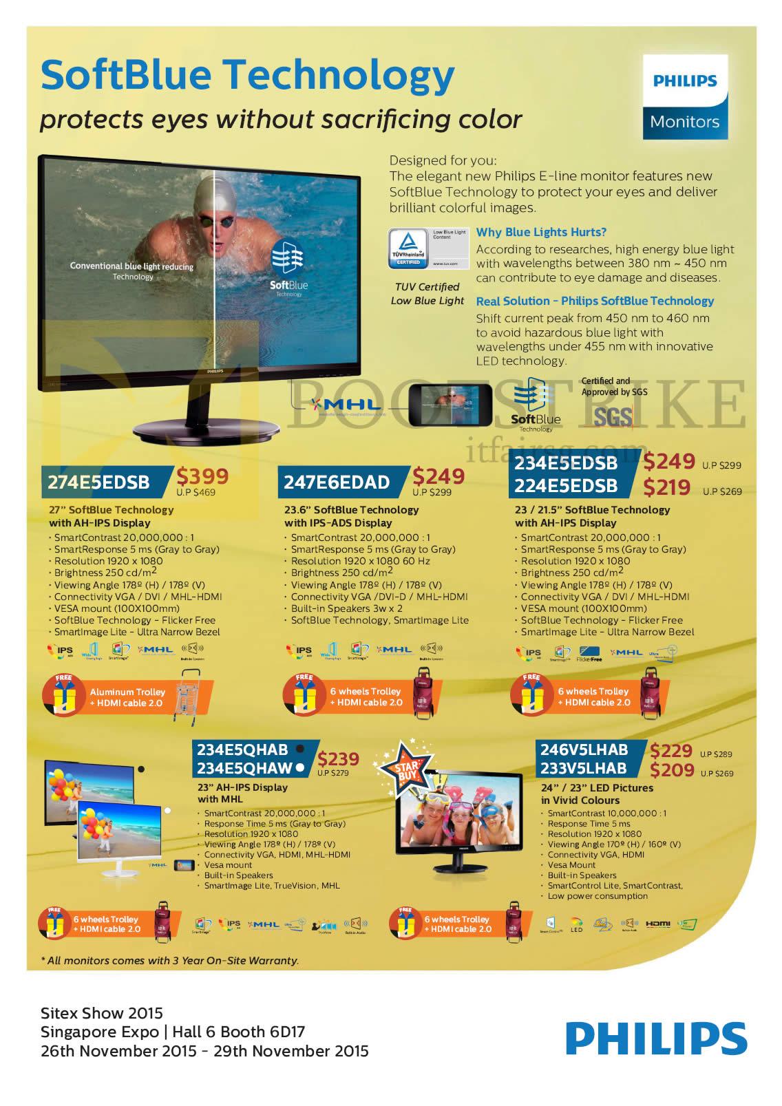 SITEX 2015 price list image brochure of Philips Monitors 274E5EDSB, 247E6EDAD, 234E5EDSB, 24E5EDSB, 234E5QHAB, 234E5QHAW, 246V5LHAB, 233V5LHAB