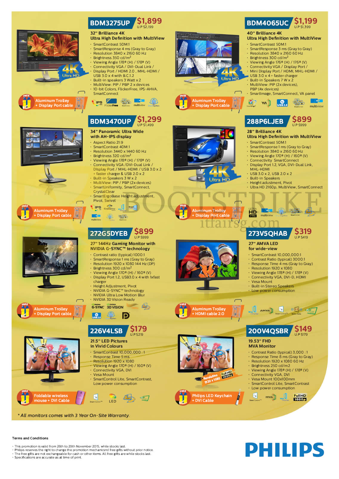 SITEX 2015 price list image brochure of Philips Monitors LED IPS 4K BDM3275UP, BDM4065UC, BDM3470UP, 288P6LJEB, 272G5DYEB, 273V5QHAB, 226V4LSB, 200V4QSBR