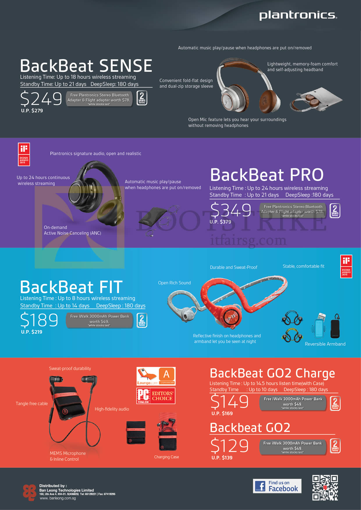 SITEX 2015 price list image brochure of Plantronics Bluetooth Headsets BackBeat Sense, Pro, Fit, GO2 Charge