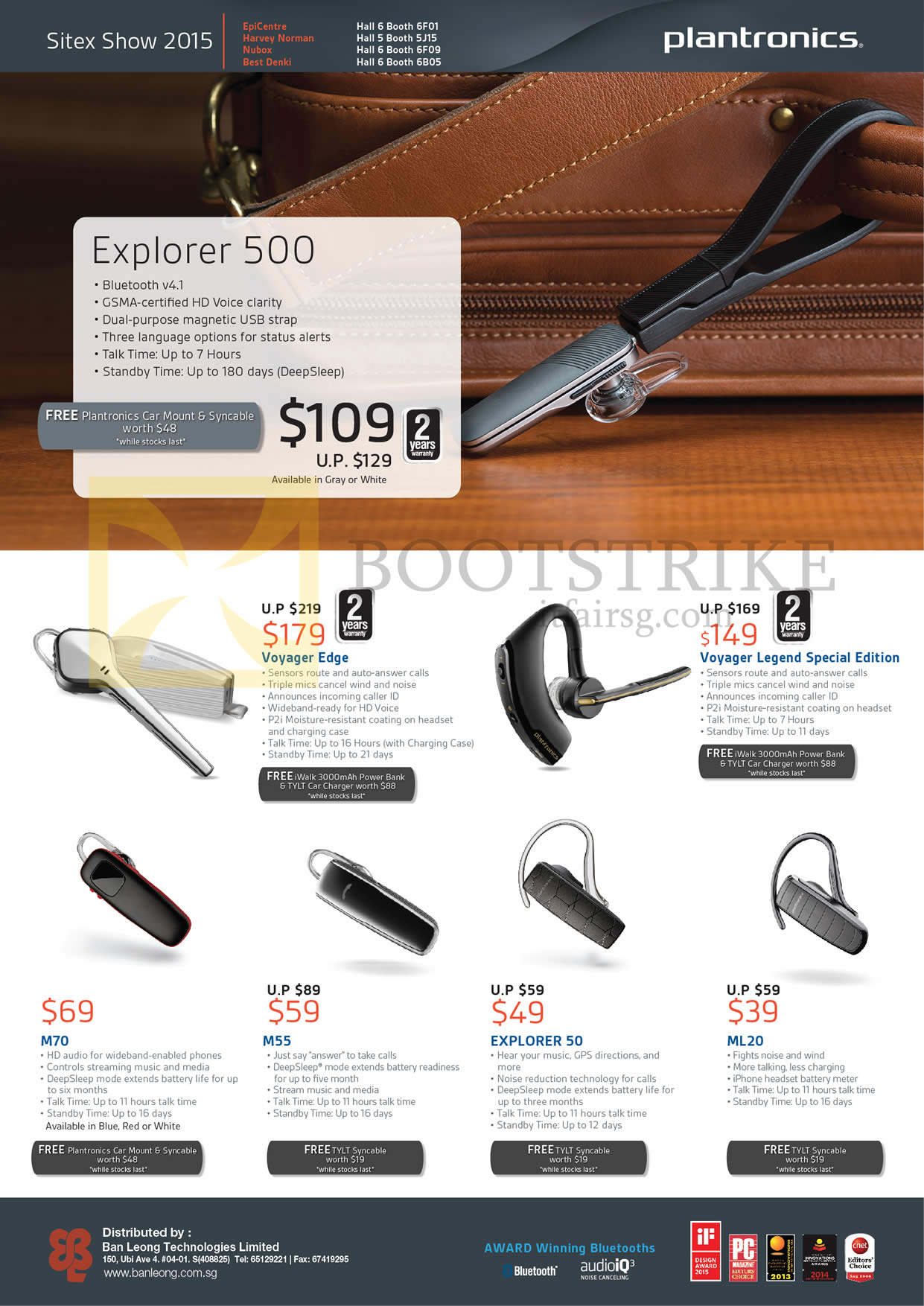 SITEX 2015 price list image brochure of Plantronics Bluetooth Headsets Explorer 500, Voyager Edge, Legend Special Edition, M70, M55, 50, ML20