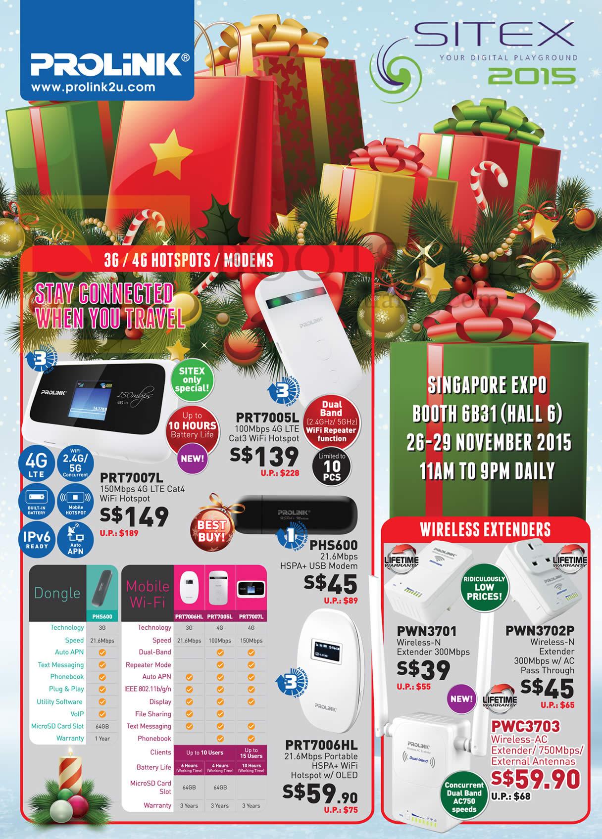 SITEX 2015 price list image brochure of Prolink 3G, 4G Hotspots, Modems, Wireless Extenders, PRT7007L, 7005L, 7006HL, PHS600, PWN3701, 3702P, 3703