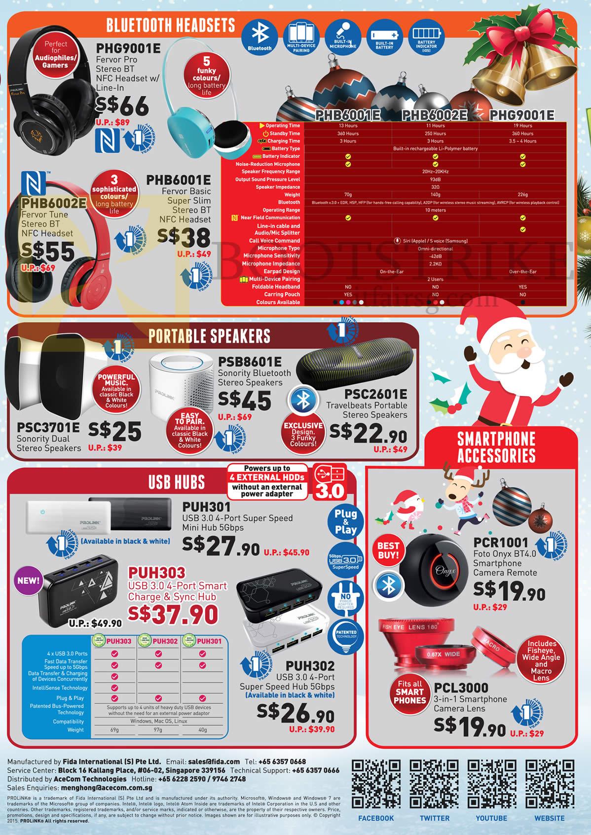 SITEX 2015 price list image brochure of Prolink Bluetooth Headsets, Portable Speakers, USB Hubs, Smartphone Accessories, PHG9001E, PHB6001E, 6002E, PSB8601E, PSC3701E, 2601E