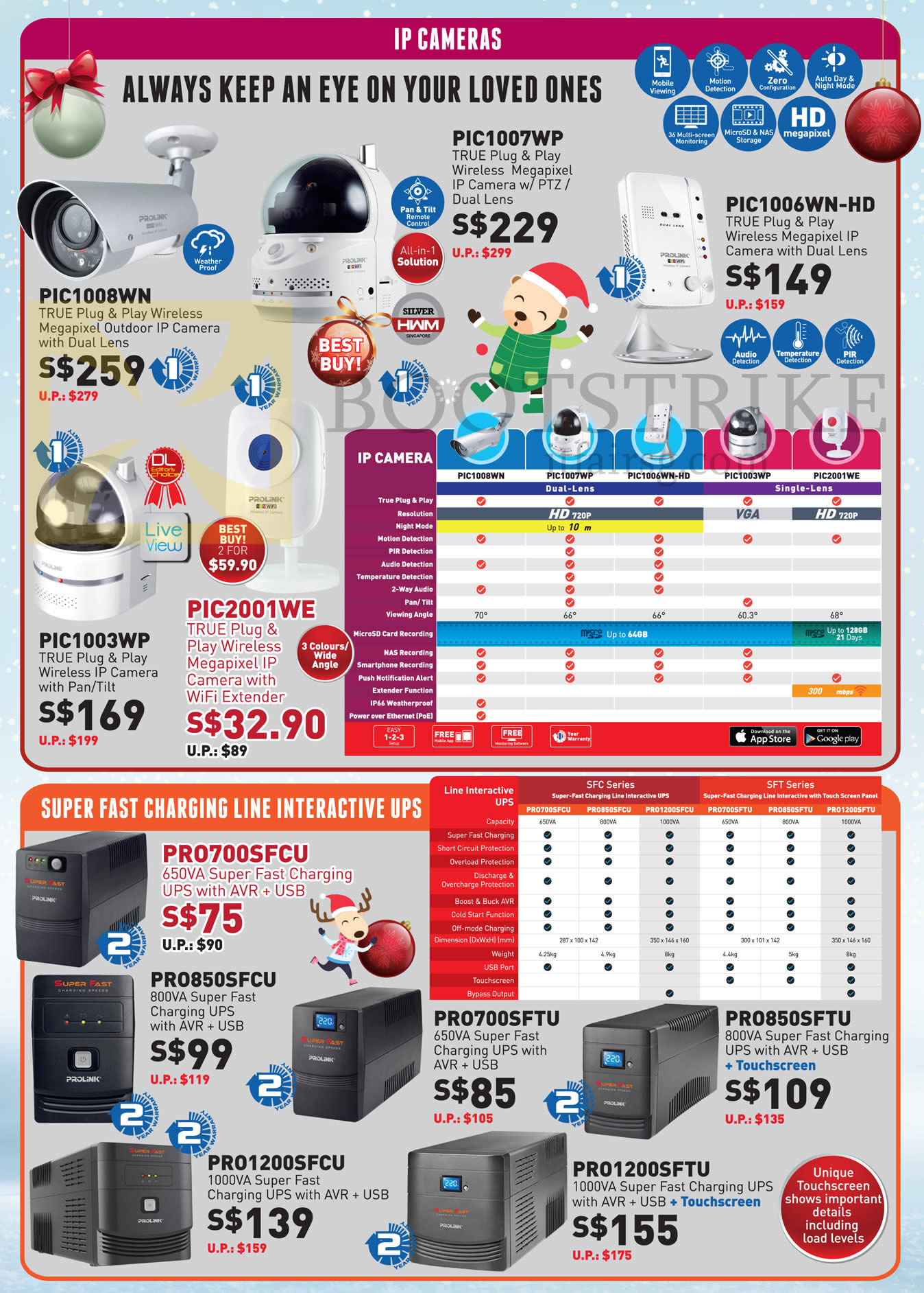 SITEX 2015 price list image brochure of Prolink IP Cameras, Interactive UPS PIC1007WP, 1008WN, 1006WN-HD, 1003WP, 2001WE, PRO700SFCU, 850SFCU, 1200SFCU, 700SFTU, 1200SFTU, 850SFTU