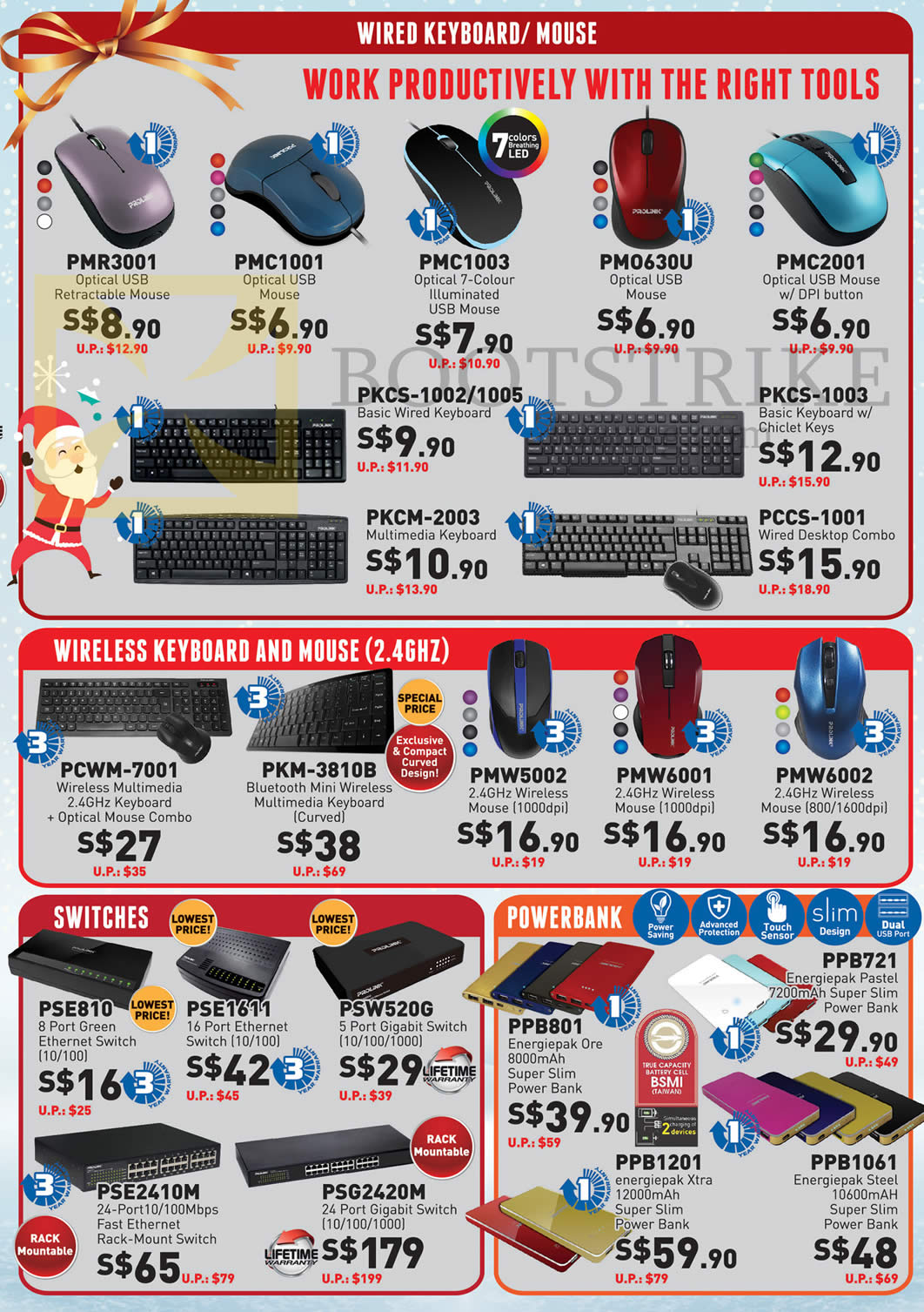 SITEX 2015 price list image brochure of Prolink Mouse, Keyboard, Wired, Wireless, Switches, Powerbank, PMR3001, PMC1001, 1003, 2001, PCWM-7001, PMW5002, 6001, 6002, PSE810, 1611, 2410M