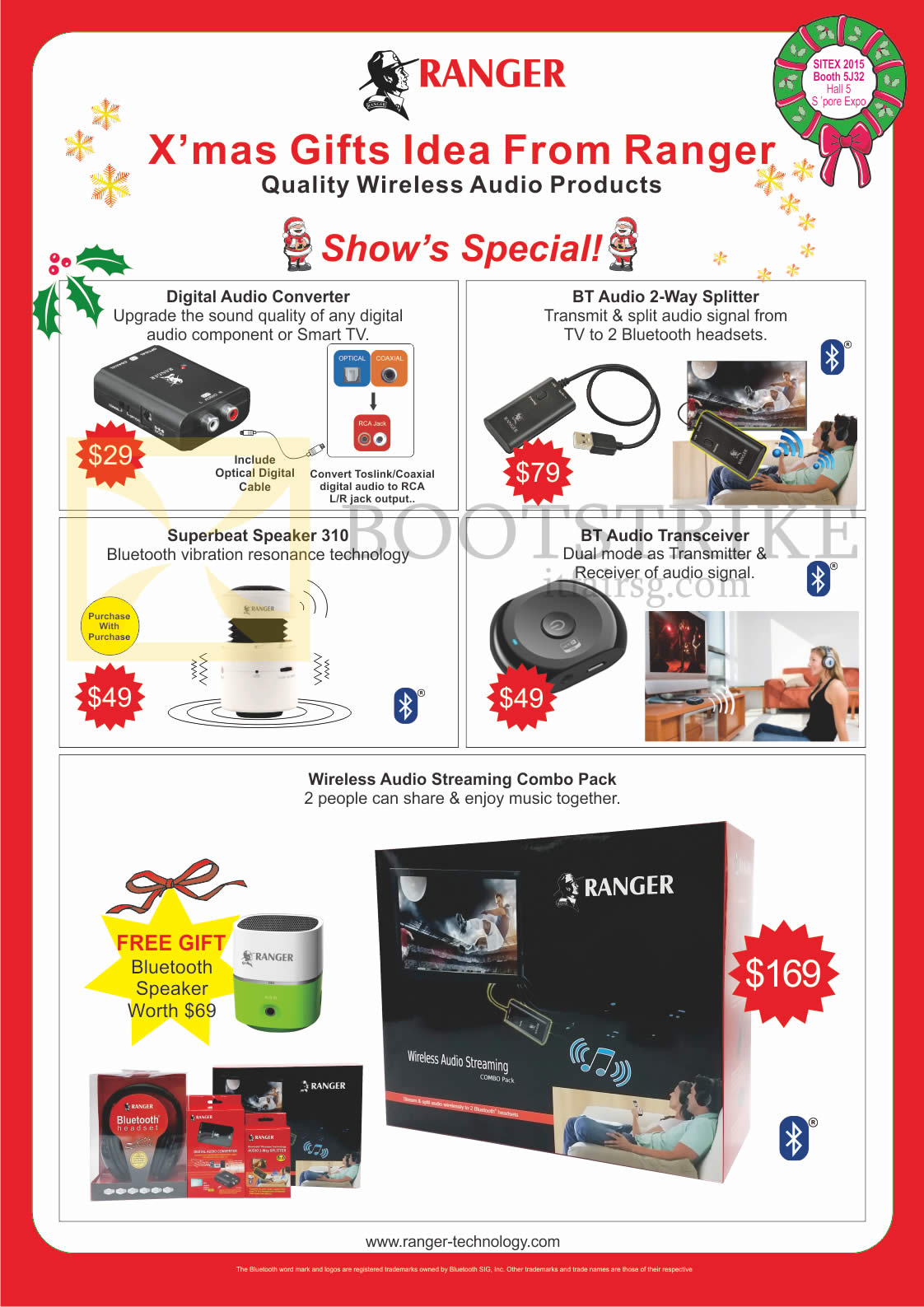 SITEX 2015 price list image brochure of Ranger Accessories Digital Audio Converter, BT Audio 2 Way Splitter, Superbeat Speaker 310, BT Audio Transceiver, Wireless Audio Streaming Combo Pack