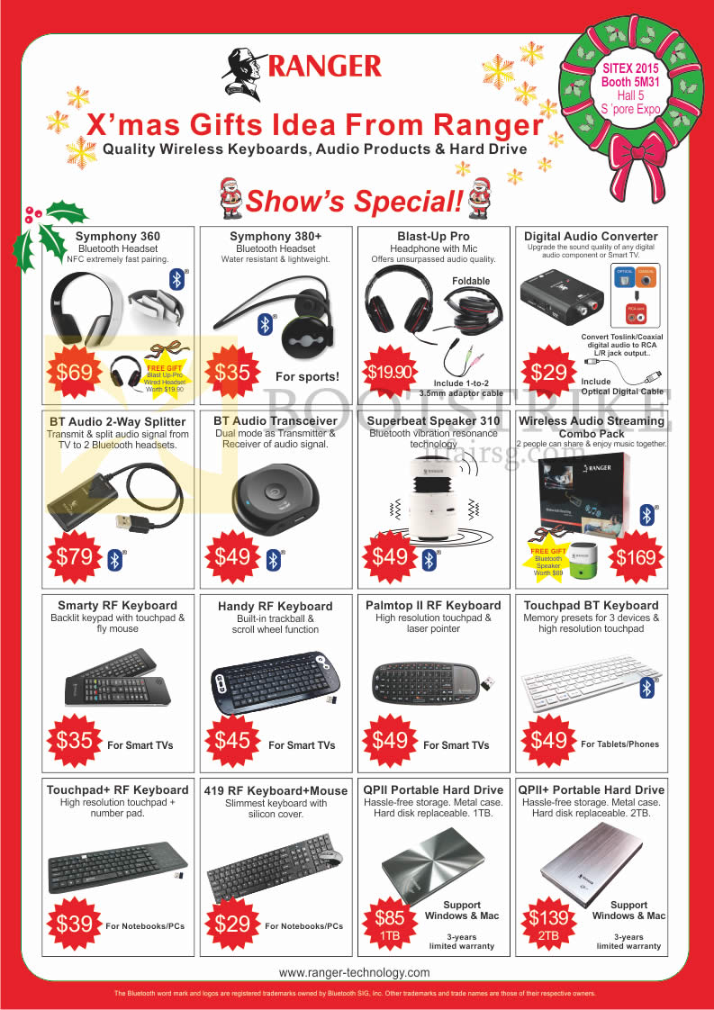 SITEX 2015 price list image brochure of Ranger Accessories Headphones, Transceiver, Speaker, Keyboards, Hard Disk Drive, Symphone 360, 380 Plus, Superbeat 310, Smarty RF, Handy RF, Palmtop II RF, 419 RF, QP II