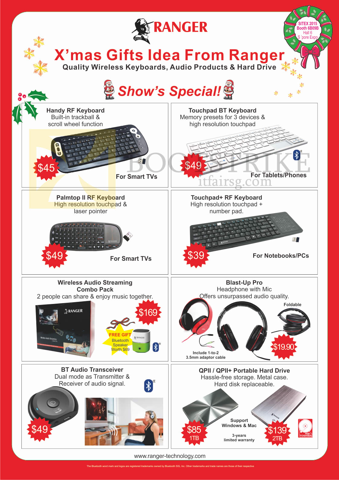 SITEX 2015 price list image brochure of Ranger Accessories Keyboards, Audio Streaming, Headphones, Audio Transceiver, Portable Hard Drive, Handy RF, Touchpad BT, Palmtop II RF, Touchpad Plus RF, Blast-Up Pro