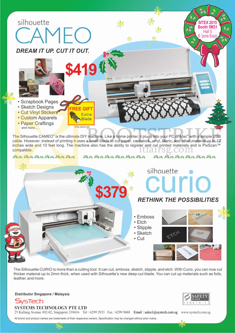 SITEX 2015 price list image brochure of Ranger Systech DIY Machines Silhouette Cameo, Curio