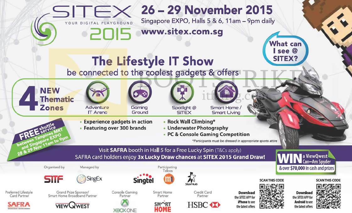 SITEX 2015 price list image brochure of SITEX 2015 Event Details, Venue, Opening Hours, Thematic Zones, Shuttle Service, Safra