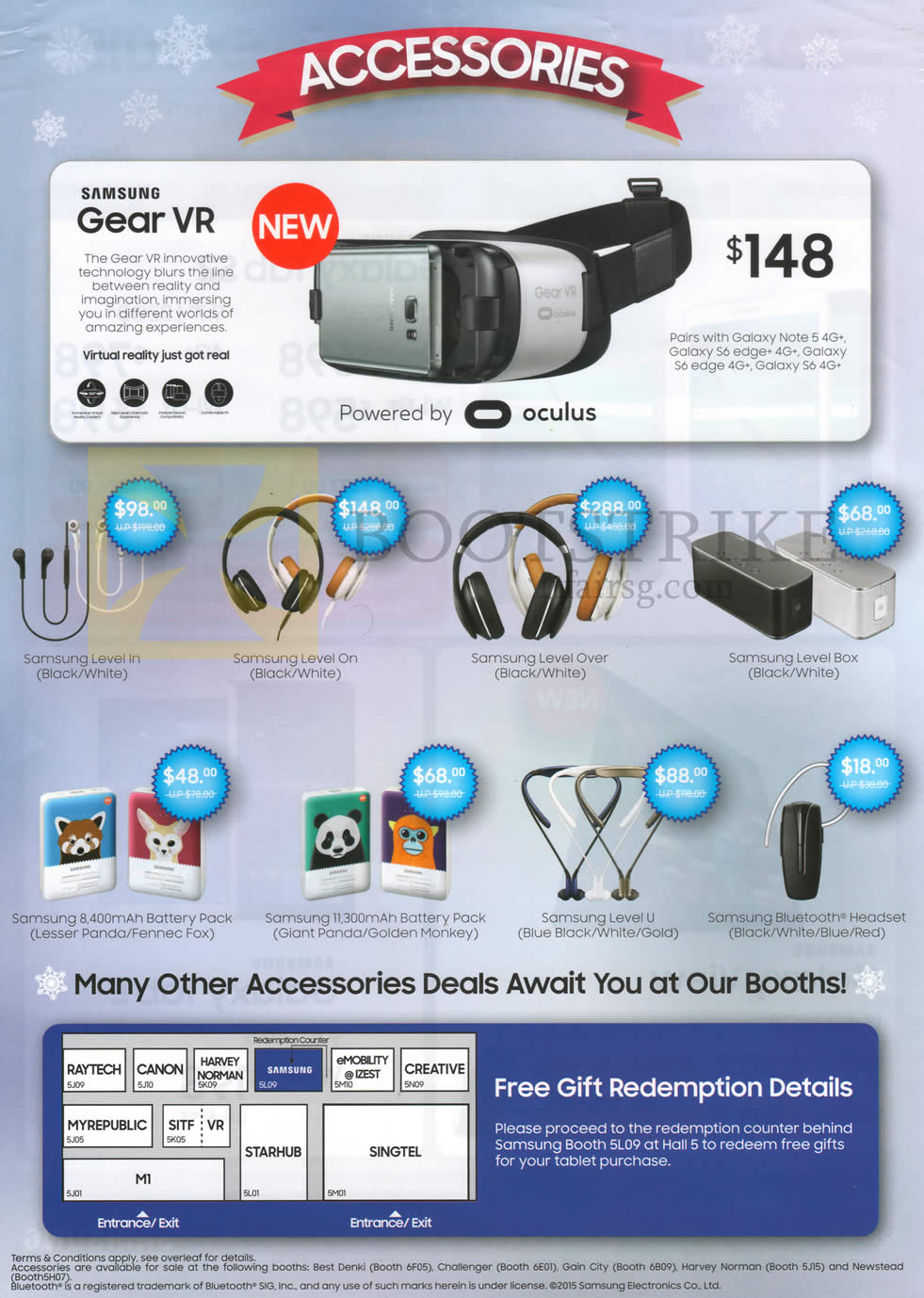 SITEX 2015 price list image brochure of Samsung Gear VR, Level In, Level On, Accessories Level Over, Level Box,Level U, Bluetooth Headset, 8400mAh, 11300mAh Battery Packs