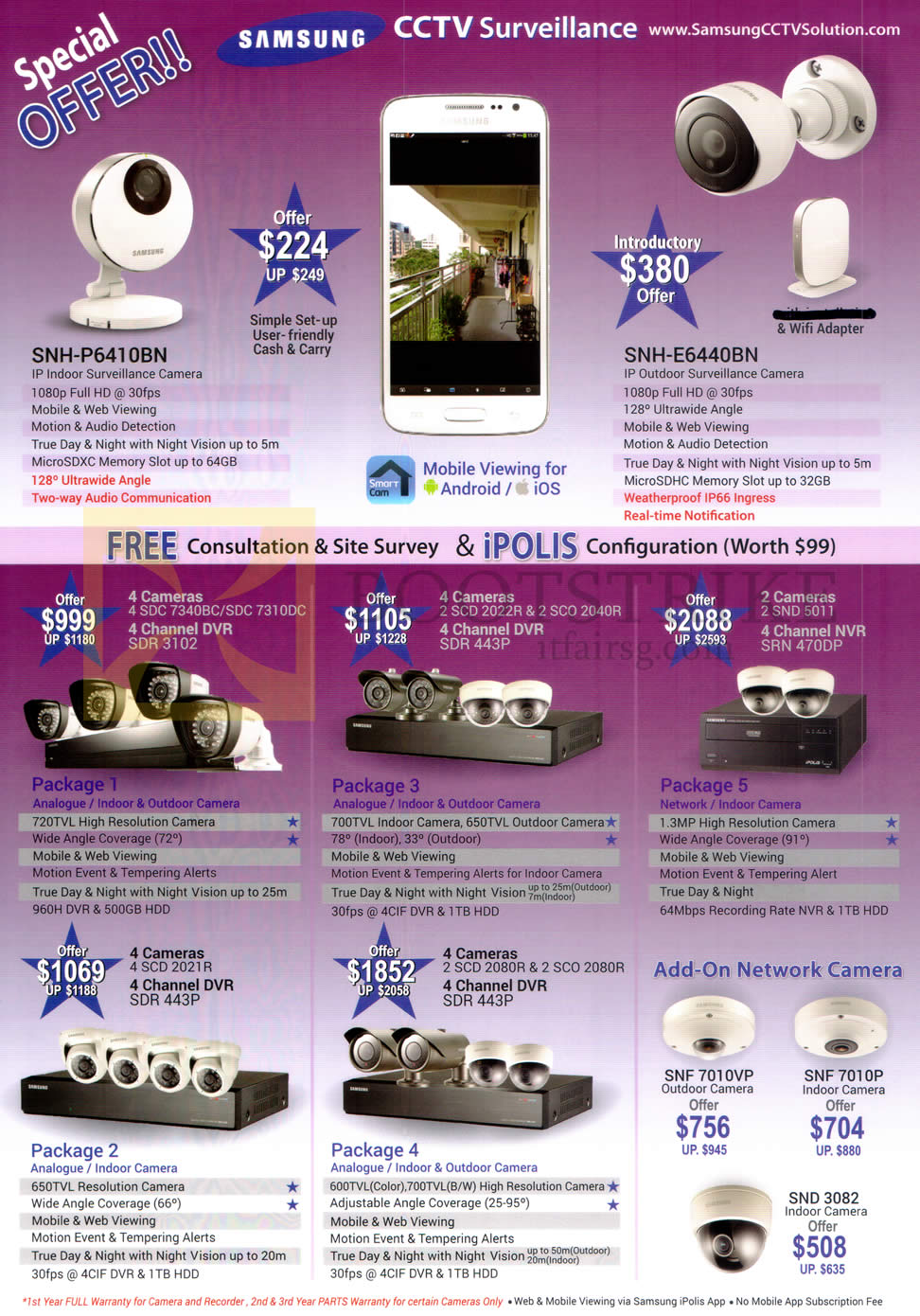 SITEX 2015 price list image brochure of Samsung IPCams SNH-P6410BN, E6440BN, Cameras, Packages 1, 2, 3, 4, 5, Add On Network Camera, SNF 7010VP, SNF 7010P, SND3082