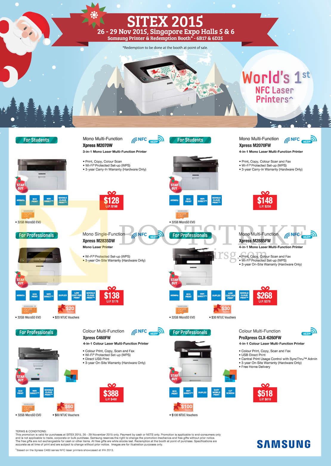 SITEX 2015 price list image brochure of Samsung Printers Laser Xpress M2070W, M2070FW, M2835DW, M2885FW, C460FW, CLX-6260FW