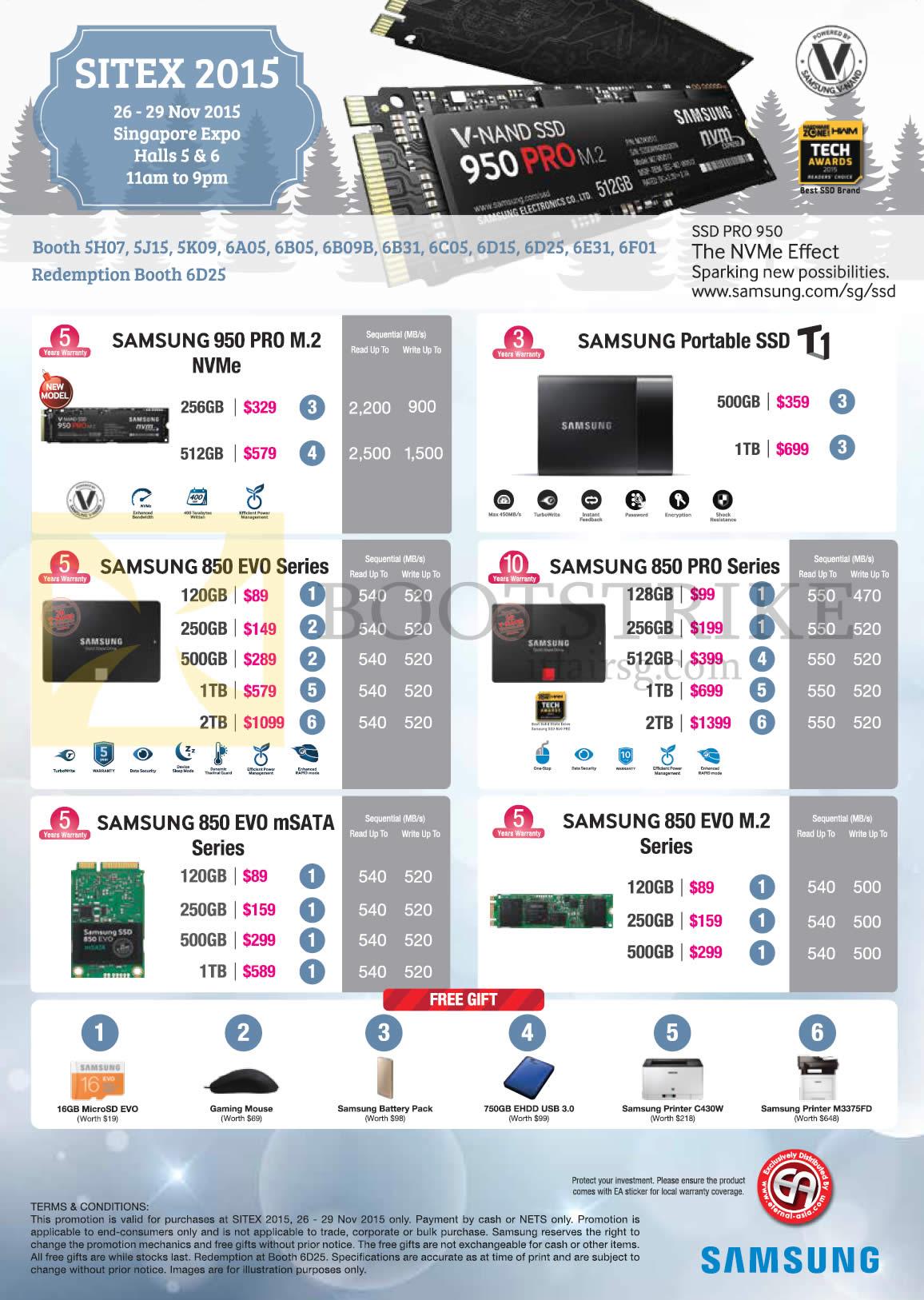 SITEX 2015 price list image brochure of Samsung SSDs 950 Pro M.2 NVMe, T1, 850 Evo Series, 850 Pro Series, 850 EVO MSata, 850 Evo M.2