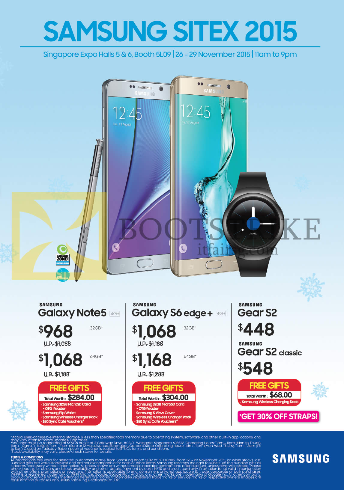 SITEX 2015 price list image brochure of Samsung Tablets Smartphones Galaxy Note 5, S6 Edge Plus, Gear S2, S2 Classic, Free Gifts