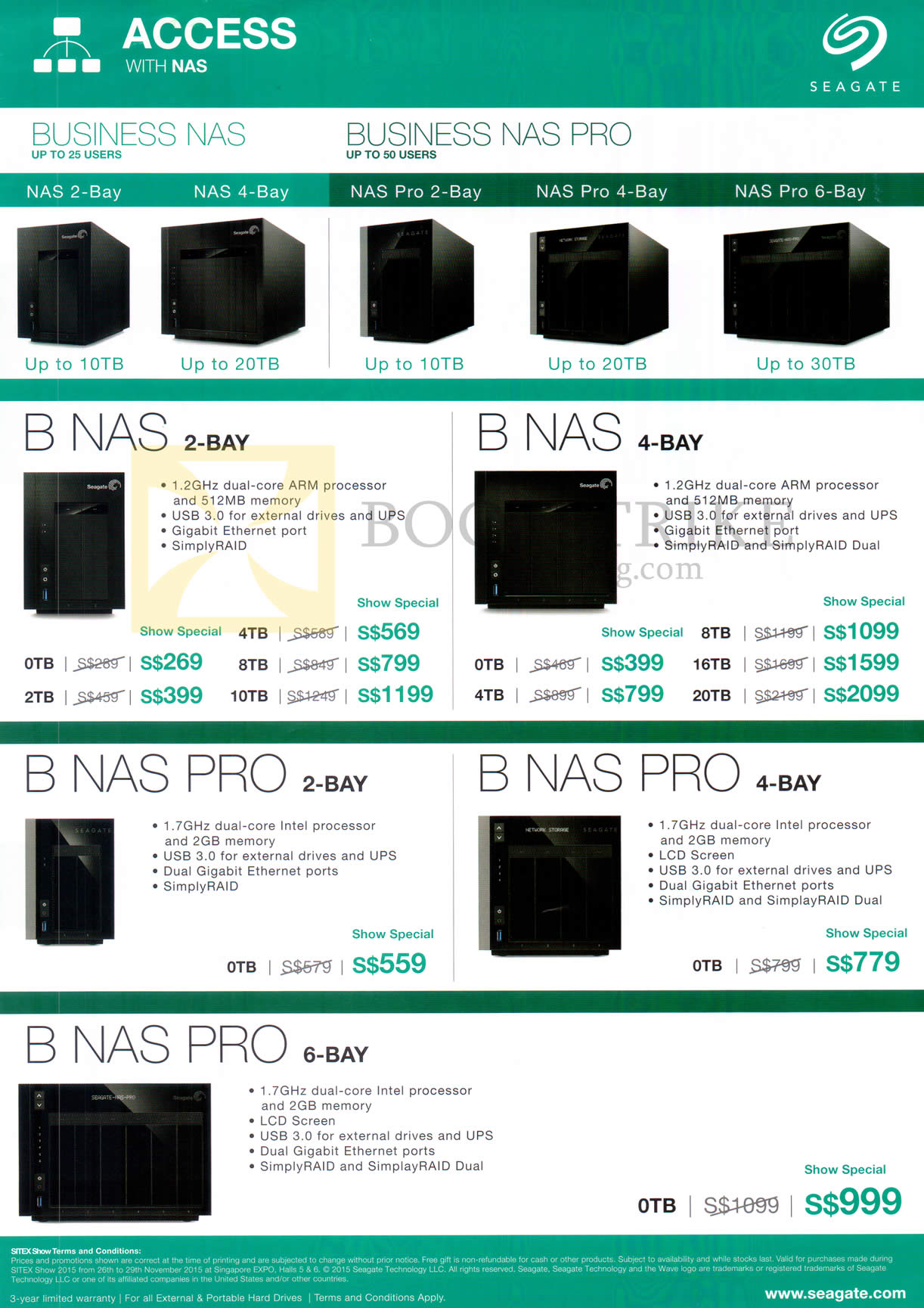 SITEX 2015 price list image brochure of Seagate Business NAS, NAS Pro, 2Bay, 4Bay, 6Bay