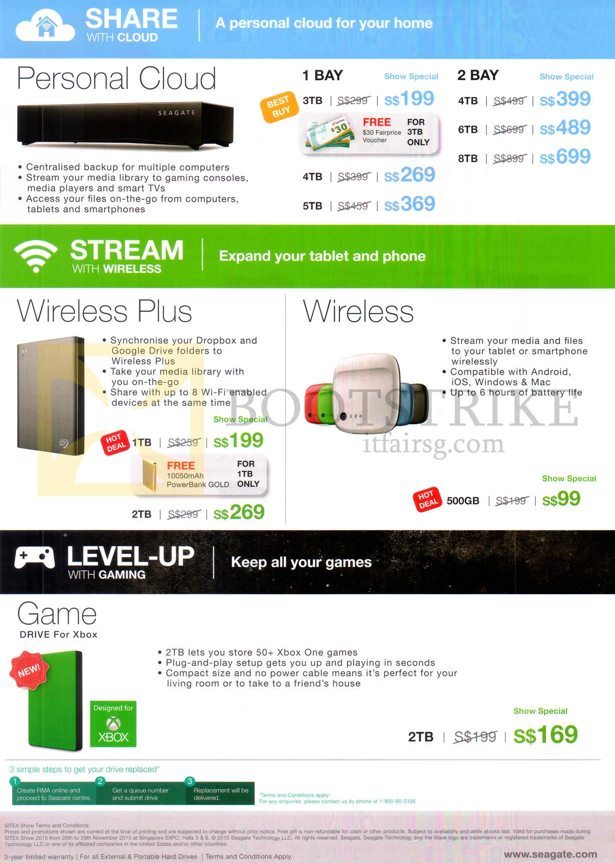 Seagate Personal Cloud, Wireless, Wireless Plus, Game Drive